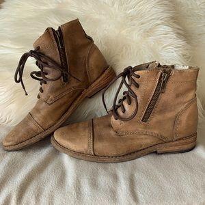 Bed Stu Cobbler Series Distressed Tan Combat Boots